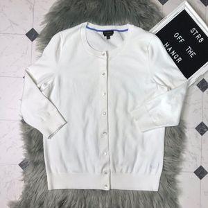 Talbots white half sleeve cardigan size Large